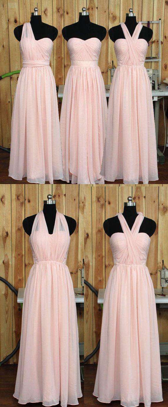 Convertible Blush Bridesmaid Dress, Wedding Party dress, Chiffon Prom Dresses, Prom Dress, Formal Evening Dress, A Line Bridesmaid Dresses,Bridesmaid Dress