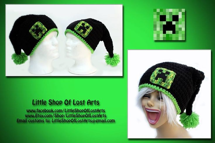 Minecraft crochet hat - oh yah they would LOVE this Gram