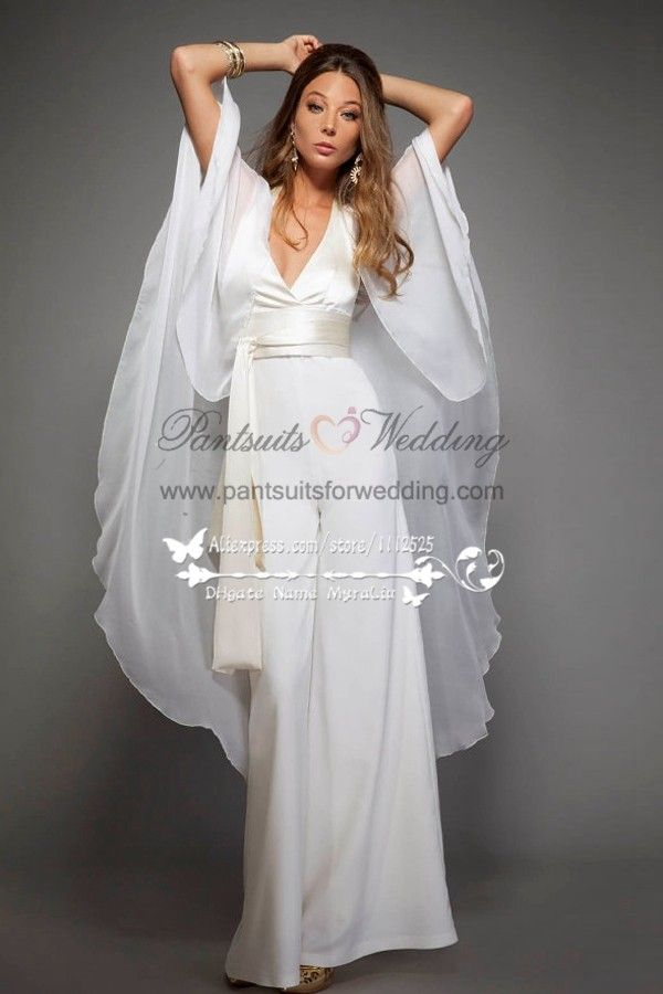 d8a41672358 Sexy Halter Deep V-neck bridal jumpsuits with chiffon cape for spring  wedding BA-063