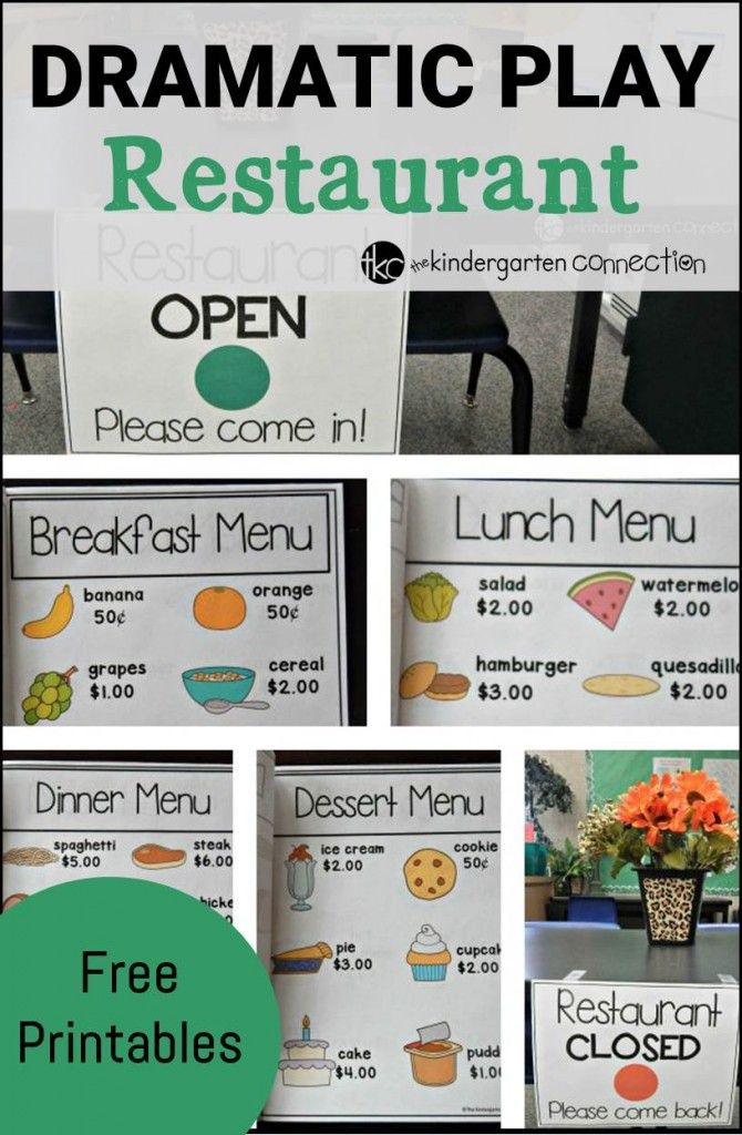 "Have a blast learning and playing with these dramatic play ""restaurant"" printables and ideas!"