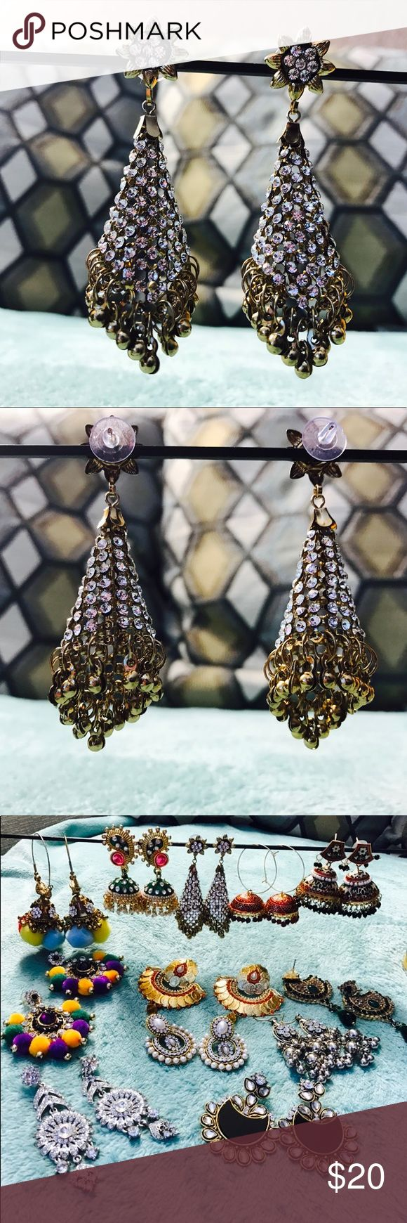 Indian rhinestone and pearl earrings!💕❤️ Brand new!❤️💕❤️ I love my all jewelry pieces ❤️💕 I have hundreds of it! So I am selling this! It is perfect for party, wedding, prom❤️💕❤️ Boutique Jewelry Earrings