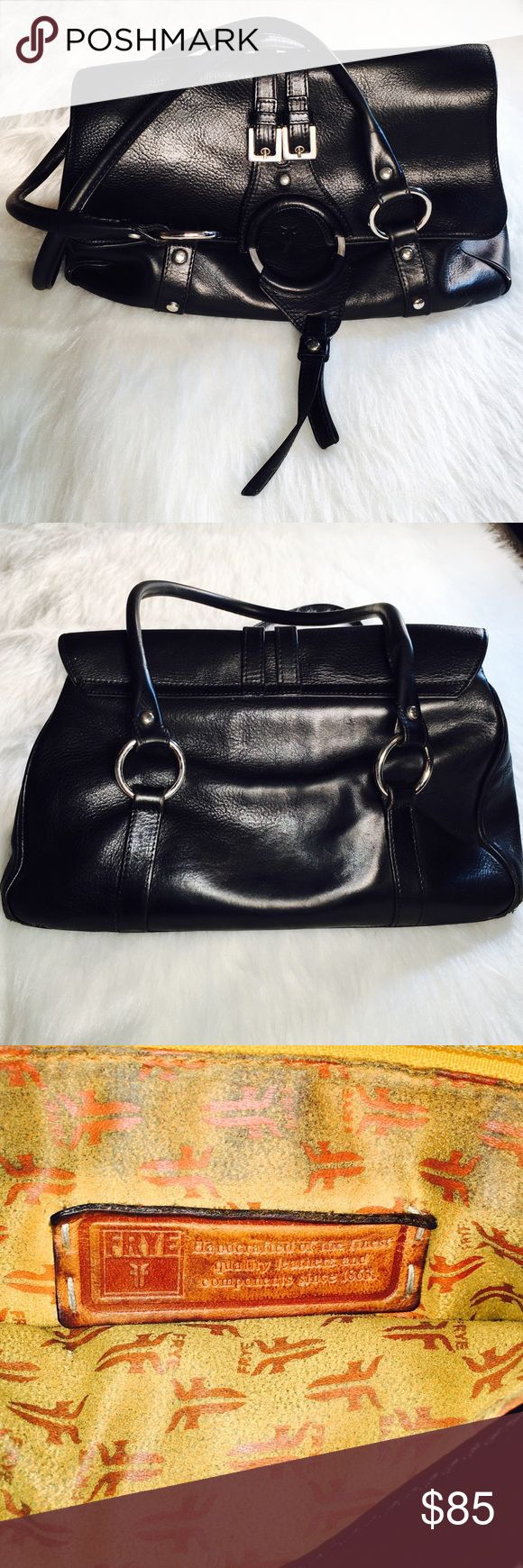 "FRYE black leather saddle bag fold over handbag FRYE black saddle bag - incredible leather handbag. NOTE: the bag has wear: the bottom corners need repair! See photo -- this is the worst of it. A cobbler / ""shoe & bag guy"" should be able to repair but bag comes ""as is."" Bag is about the size of a piece of standard printer paper. Fold over top with magnet closure. Heavy due to fine leather FRYE is known for. Inside needs cleaning -- it's a gorgeous mustard yellow suede with the FRYE logo…"