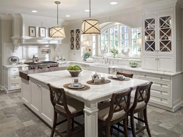 This Kitchen Island Serves Double Duty With Ample Work Spaces And Formal Large Kitchen Island Designs Kitchen Island Designs With Seating Kitchen Island Design