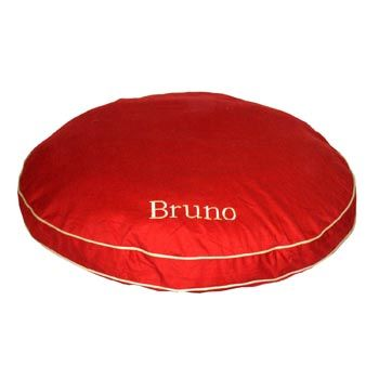Carolina Pet Company Red Classic Twill Round-A-Bout Personalized Dog Bed