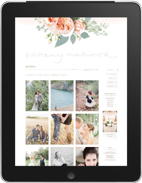 Brittany Mahood Photography website by Ashley Nicole
