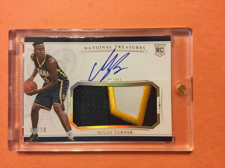 2015/16 Panini National Treasures 6/10 MYLES TURNER RPA Auto Patch RC #IndianaPacers