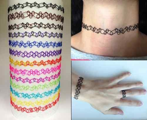 Cute Girl Vintage Stretch Tattoo Choker Necklace Retro Henna Elastic 80s 90s (Black): Amazon.co.uk: Shoes & Bags
