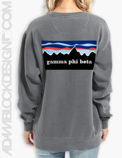 Gamma Phi Beta - Patagonia inspired design on Comfort Colors. $32 - ships right to your door! Available until 2/19 || Adam Block Design