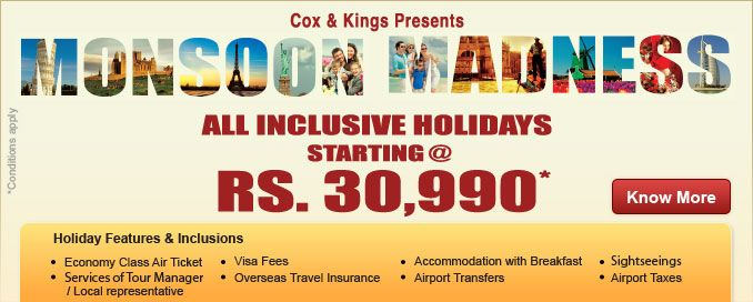 Monsoons just got better! All-inclusive holidays starting at Rs. 30,990* Click here to plan yours now - http://www.coxandkings.com/promotion/monsoon-madness/index.shtml?pinterest