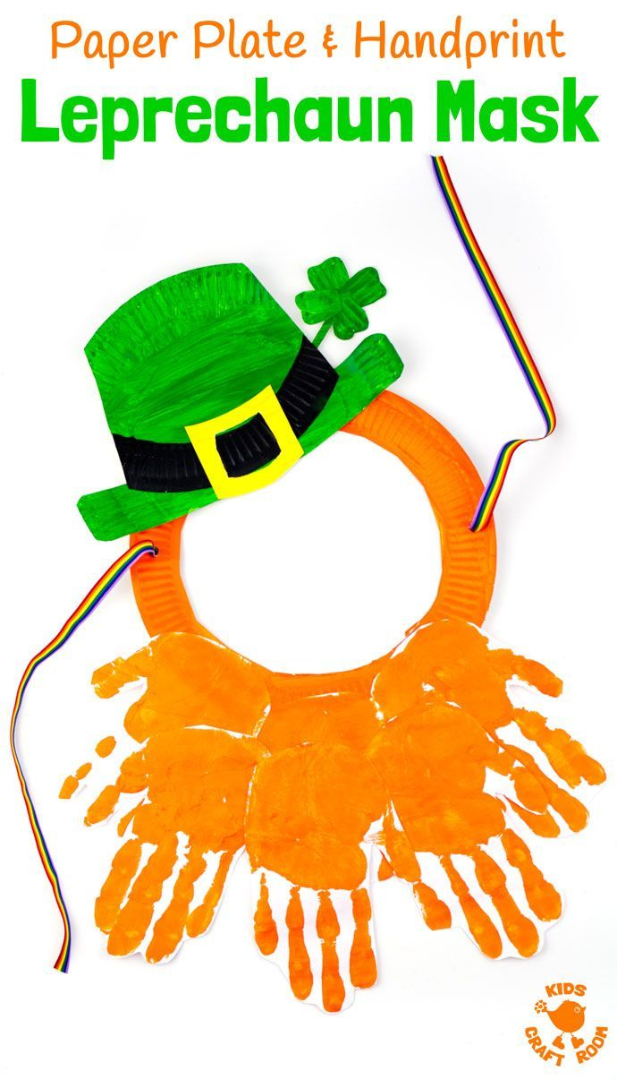 St patricks crafts for preschoolers - Paper Plate And Handprint Leprechaun Mask St Patrick S Day Craftspreschool