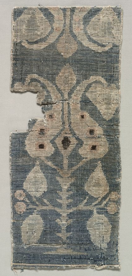 Two-faced Carpet Fragment, 1100s Iran ?, Seljuk period, 12th century senna knot, Overall: 39.30 x 16.20 cm (15 7/16 x 6 3/8 inches).