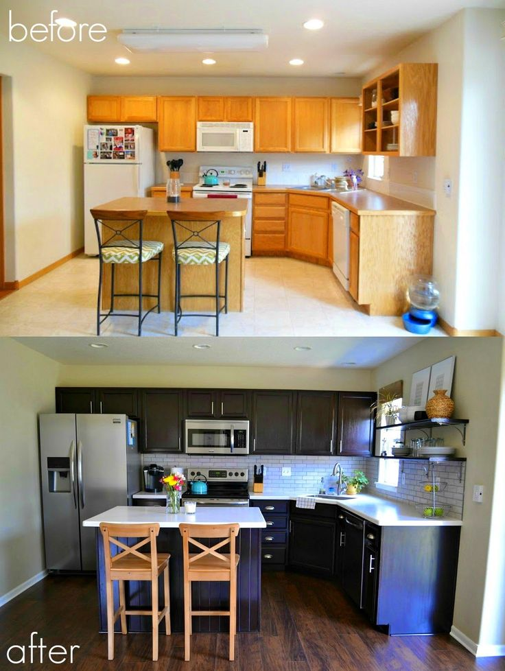 Best 25 cabinet transformations ideas on pinterest for Can i stain my kitchen cabinets darker