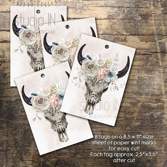 Gift tag flower gift tags printable tags by StudioInBudapest