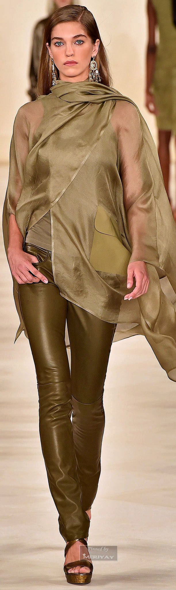 Ralph Lauren.Spring 2015 - interesting choice of colors--olive, khaki & tan, with some brilliant tangerine