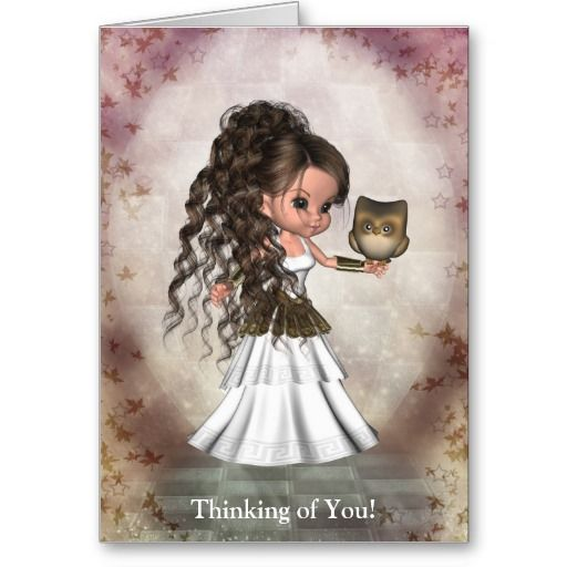 Kawaii Beautiful Athena Greek Goddess Card