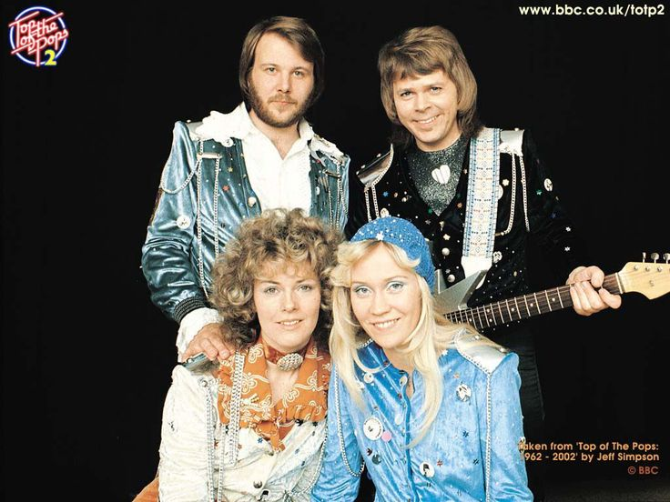 """ABBA - in their """"Waterloo"""" outfits.  1974"""
