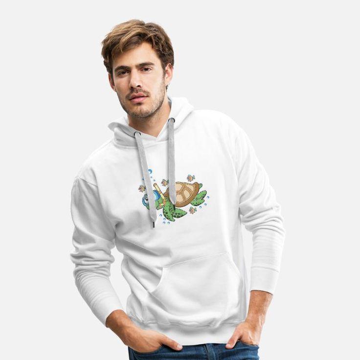 Tauchen Taucher Schildkröte unter Wasser Männer Premium Hoodie | Spreadshirt -…