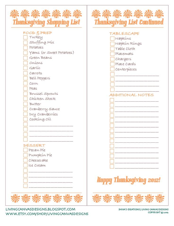 Thanksgiving Shopping List Freebie Printable...