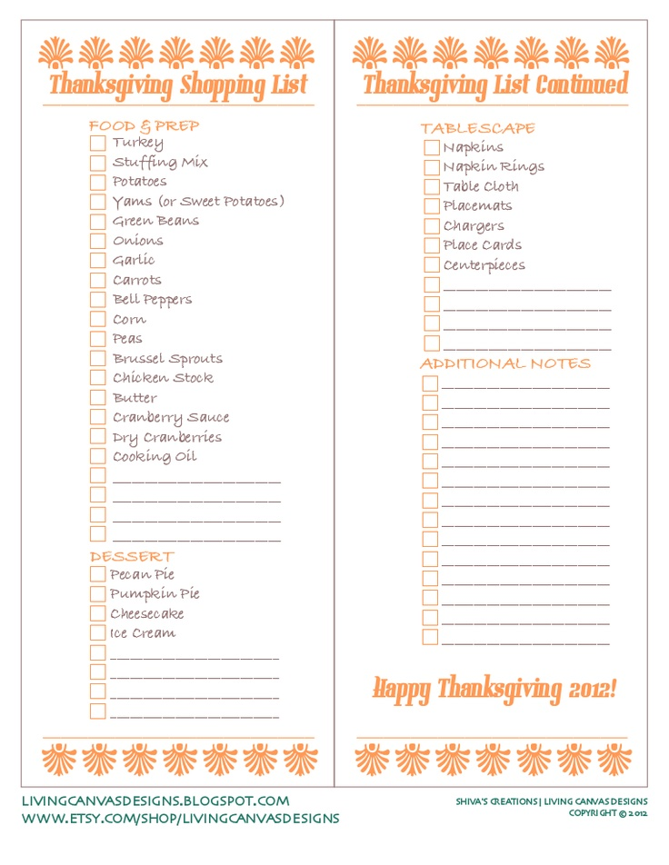 Best  Thanksgiving Shopping List Ideas On