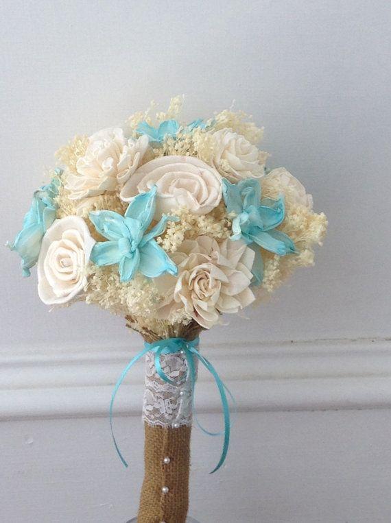 Tiffany blue sola wood bridal bouquet aqua blue cream by SusieKays
