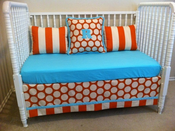 Turquoise And Orange Crib Bedding Baby Hungry P
