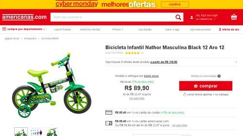 [Americanas.com] Bicicleta Infantil Nathor Masculina Black 12 Aro 12 - de R$ 174,99 por R$ 85,40 (51% de desconto)