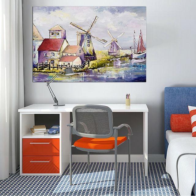 Zainspiruj się kolekcją obrazów na ścianę bimago do pokoju dziecka i nastolatka! Nic tak nie sprzyja nauce, jak wygodne krzesło i uspokajający widok na holenderskie wiatraki!