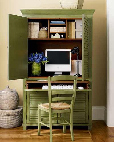 From http://junkgardengirl.blogspot.com/2009/10/organized-armoires.html- ideas for tiny craft spaces.