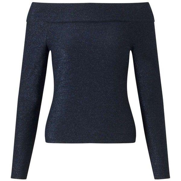 Miss Selfridge Dark Blue Metallic Bardot Top ($23) ❤ liked on Polyvore featuring tops, dark blue, dark blue top, off the shoulder long sleeve top, fitted tops, off the shoulder tops and long sleeve tops