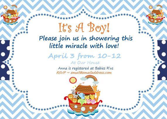 Noah's Ark Invitation Noah's Ark Baby by SweetEPaperBoutique