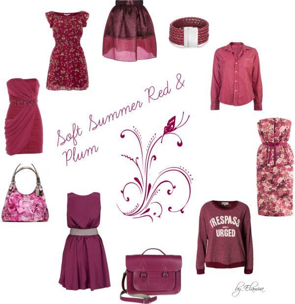 """Farb-und Stilberatung mit www.farben-reich.com - """"Soft Summer red and plum"""" by sabira-amira on Polyvore"""