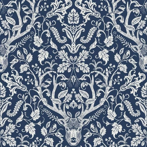 Inhome Navy Escape To The Forest Peel And Stick Wallpaper 8 In X 10 In Sample Blue Wallpaper Sample Nus3680sam The Home Depot Brewster Wallpaper Navy Wallpaper Damask Wallpaper