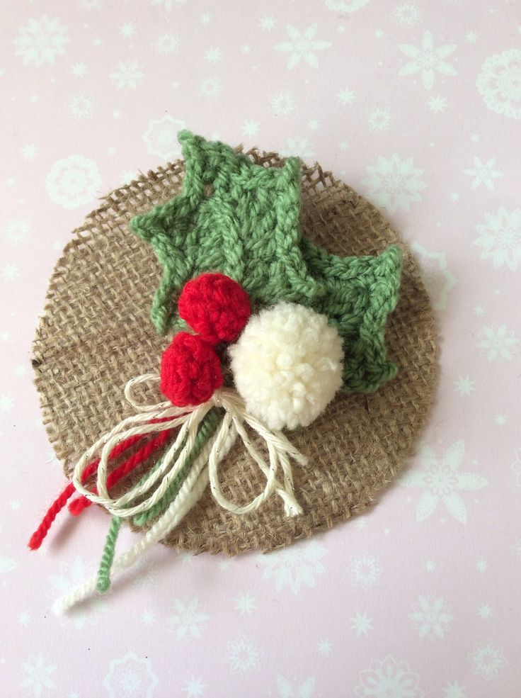 Crochet holly and berries with pom pom brooch : )