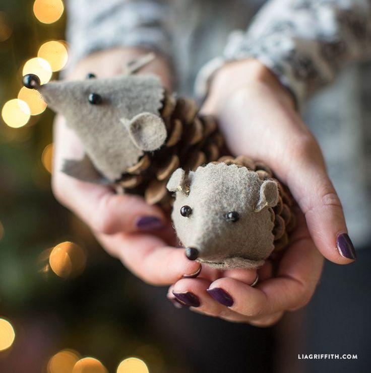DIY Felt Pinecone Hedgehog Craft