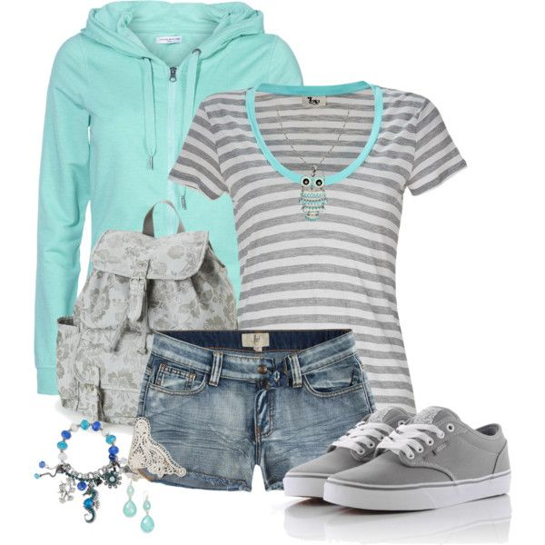 Grey & Turquoise Shorts Outfit, created by mozeemo on Polyvore