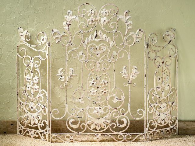 French Country Iron Floral Antique White Shabby Chic Decorative Fireplace Screen #Unbranded #shabbychic