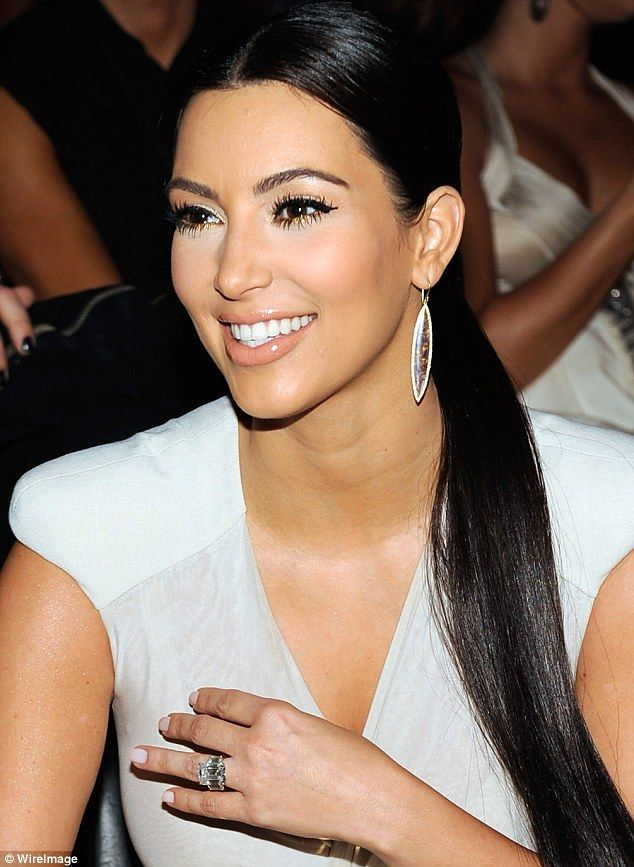 Big bling: Kim is seen wearing her old engagement ring from Kris Humphries