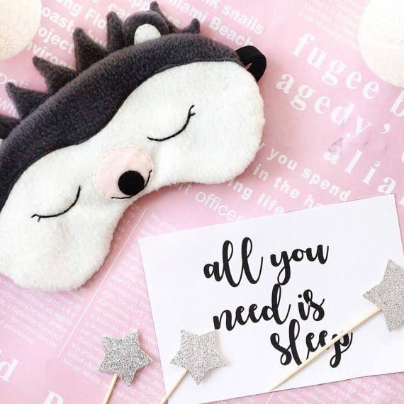 "20,00 US$ Sleep mask ""Hedgehog"" Etsy Handmade Funny sleep mask Маска для сна"