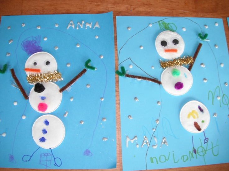 Cotton Pad snowmen.