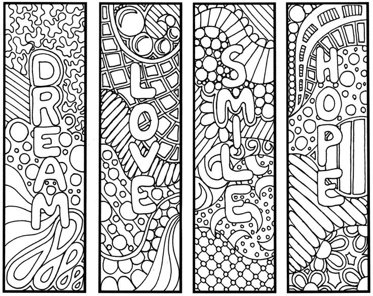 Printable 8 Coloring Bookmarks, Four (4) with quotes and four (4 ...