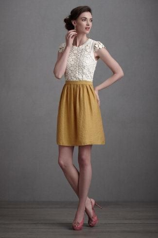 Yellow is a fantastic color.  Cute skirt and romantic lace top.