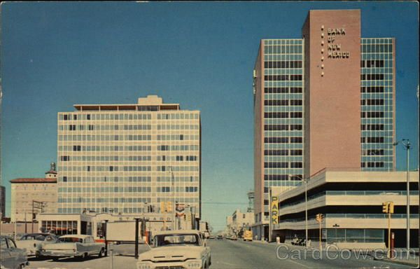 Simm's Building on left and the Bank of New Mexico building on right