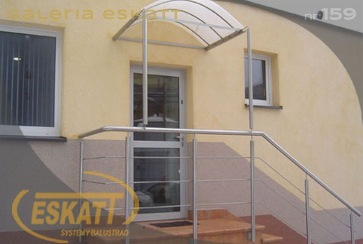 Stainless steel balustrade with frosted curved glass roof #balustrade #eskatt #construction #stairs #roof