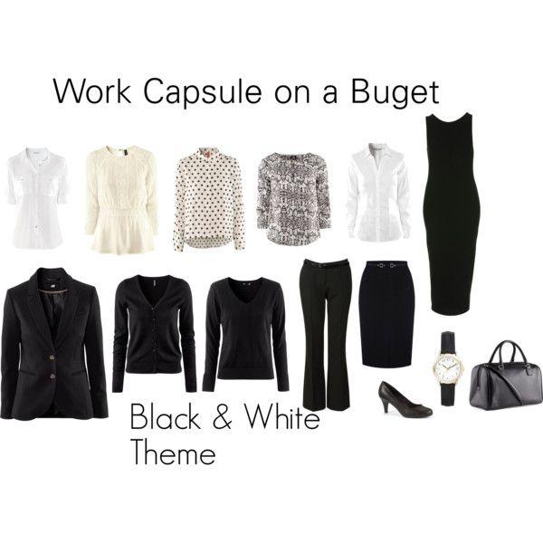 Capsule wardrobe basics black dress - Work Wardrobe On A Budget Polyvore Style Pinterest