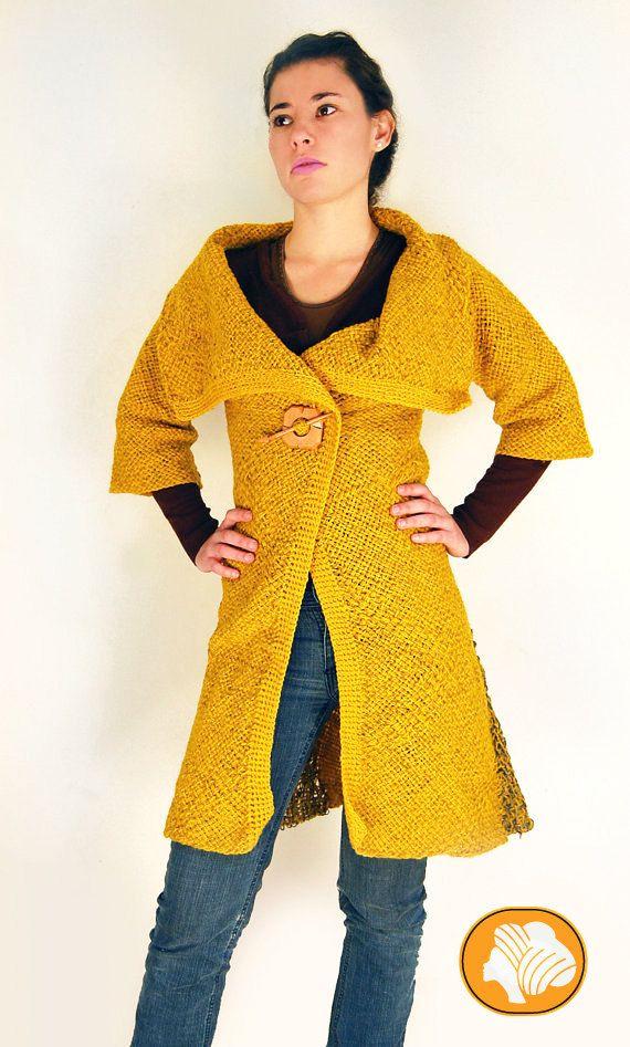 Abrigo de lana mostaza o azul por Ullvuna en Etsy