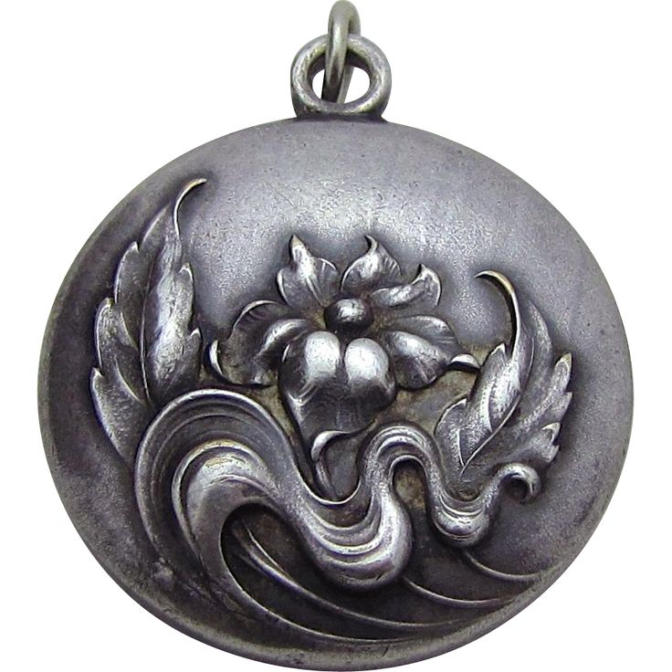 Antique Art Nouveau Sterling Silver Water Lily Solid Watch Fob from charmalier on Ruby Lane