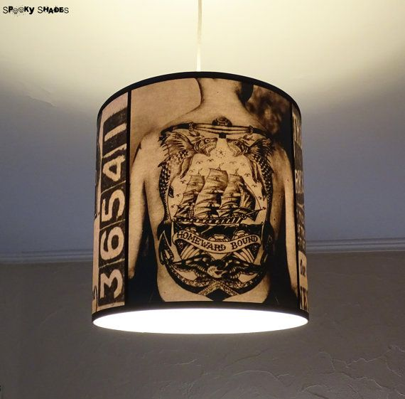 Vintage Tattoos pendant lamp shade lampshade by SpookyShades