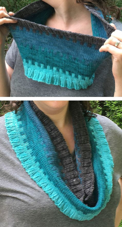 Free Knitting Pattern for Beyond the Wall Cowl - Three color cowl in ice colors. 2 sizes. Designed byStefanie Goodwin-Ritter