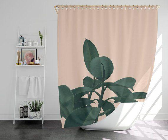 Botanical Shower Curtain Bath Mat Terracotta Decor Boho
