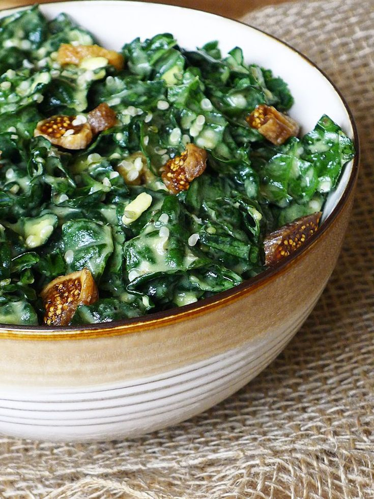 Kale and Fig Salad: made with a creamy avocado dressing and hemp seed.